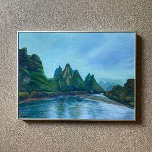 VINTAGE framed oil painting landscape